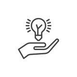 递拿着想法电灯泡线象,概述传染媒介标志,在白色隔绝的线性样式图表 分享标志,商标illustr的想法 图库摄影