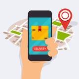 递拿着有流动app交付跟踪的流动巧妙的电话 库存照片