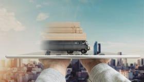 递拿着有送货卡车运载的邮包箱子的数字式片剂 网上购物、电子商务和交付概念 免版税库存图片