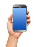 递拿着有黑屏的一个大屏幕Smartphone 免版税库存照片