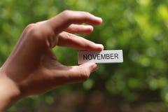 递拿着木忠心于词`对此的11月` 库存图片