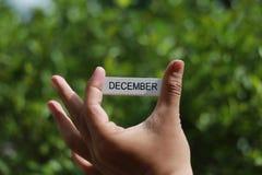 递拿着木忠心于词`对此的12月` 免版税库存照片
