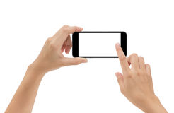 递拿着电话在白色隔绝的流动和触摸屏 免版税库存照片