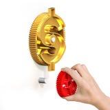 递拿着齿轮与货币符号齿轮结合 库存图片