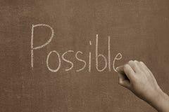 递指向成功概念的可能的词 库存照片
