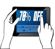 递指向70%在片剂的文本 例证 免版税库存图片
