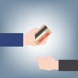 递捐或拿着信用卡钱给另一只手,财政贷款概念,在平的设计的例证传染媒介 库存图片