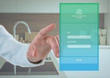 递接触一个家庭自动化系统App接口 免版税库存照片