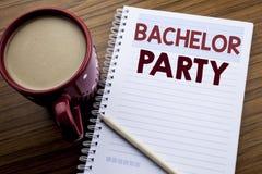 递文字文本显示单身聚会的说明启发 雄鹿乐趣的在便条纸notepa写Celebrate企业概念 免版税库存图片