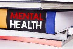 递文字文本显示精神健康的说明启发 忧虑在书写的病症混乱的企业概念  图库摄影