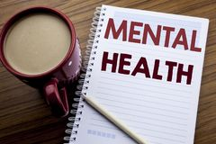 递文字文本显示精神健康的说明启发 忧虑在便条纸写的病症混乱的企业概念n 库存照片