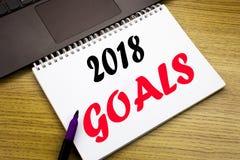 递文字文本显示2018个目标的说明启发 财政规划的,在没有写的经营战略企业概念 库存照片