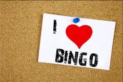 递文字文本说明我爱宾果游戏概念意思字法赌博赢取价格书面的成功爱的启发陈列 库存照片
