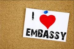 递文字文本说明我爱意味旅游签证应用爱的使馆概念写在稠粘没有的启发陈列 库存图片