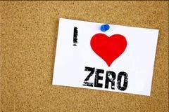 递文字文本说明我爱意味零的零的零的概念在稠粘写的无价值容忍爱没有的启发陈列 免版税库存照片
