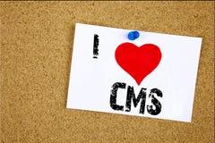 递文字文本说明我爱意味CMS万维网爱的CMS概念写在稠粘的笔记的启发陈列,提示被隔绝 库存图片