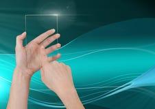 递有抽象波浪和曲线的感人的玻璃屏幕 库存图片