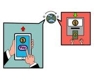递有银行业务付款的app轻拍的巧妙的电话 免版税图库摄影