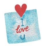 递油漆水彩与红色心脏的我爱你蓝色贴纸和 图库摄影