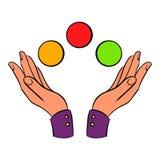 递玩杂耍的球象动画片 向量例证
