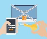 递用途钥匙和用户名密码被锁的计算机 向量例证