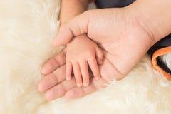 递睡觉的婴孩在母亲特写镜头(软的focu的手上 图库摄影