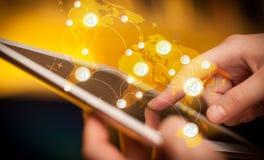 递触板个人计算机,社会网络概念 图库摄影