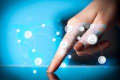 递触板个人计算机,社会网络概念 库存照片