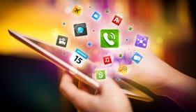 递触板个人计算机,社会网络概念 免版税图库摄影