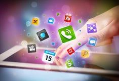 递触板个人计算机,社会网络概念 免版税库存图片
