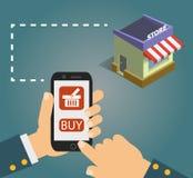 递钻孔有购买按钮的巧妙的电话在屏幕上 电子商务平的设计观念 免版税库存图片