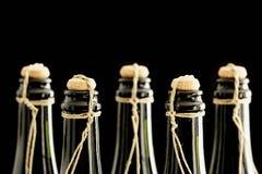 递被塞住的和被栓的香槟瓶 库存图片