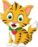 逗人喜爱一点猫动画片摆在 图库摄影