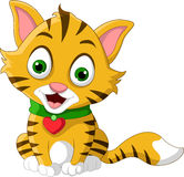 逗人喜爱一点猫动画片摆在 库存照片