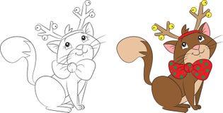 逗人喜爱与驯鹿鹿角的一点圣诞节猫,为儿童的coloringbook完善 向量例证