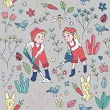 逗人喜爱两个孩子从事园艺的无缝的样式 皇族释放例证