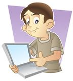 逗人喜爱他的孩子膝上型计算机屏幕&# 库存图片