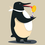 逗人喜爱企鹅动画片挥动 库存照片