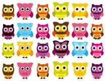 逗人喜爱和五颜六色的猫头鹰的传染媒介汇集 免版税库存图片