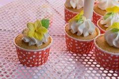 逗人喜爱和五颜六色的美味的杯形蛋糕排 免版税图库摄影
