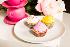 逗人喜爱和五颜六色的美味的杯形蛋糕 免版税库存图片