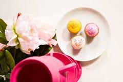 逗人喜爱和五颜六色的美味的杯形蛋糕 免版税库存照片