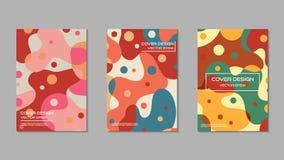 逗人喜爱和美好的颜色盖子设计模板集合 免版税库存照片
