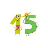 逗人喜爱和滑稽五颜六色15编号字符,生日问候 库存照片