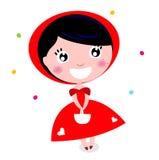 逗人喜爱在白色查出的小红骑兜帽 图库摄影
