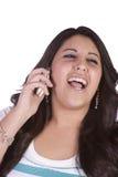 逗人喜爱女孩电话联系 免版税库存照片