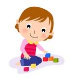逗人喜爱她小的使用的玩具 库存图片