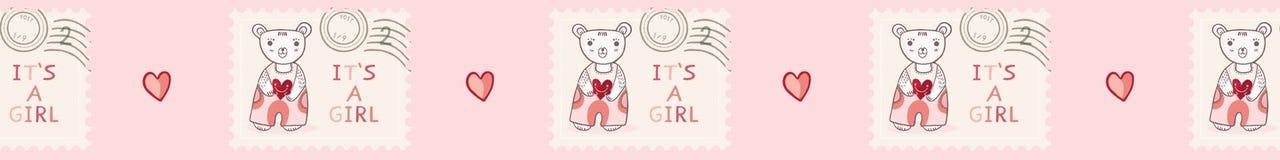 逗人喜爱它女孩玩具熊邮票无缝的传染媒介边界 库存例证