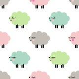逗人喜爱微笑产小羊在白色背景的无缝的样式 图库摄影