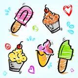 5逗人喜爱杂文桃红色,紫色,红色,棕色,黄色和绿色,冰淇淋、棍子、锥体和杯子用爱、正方 库存例证